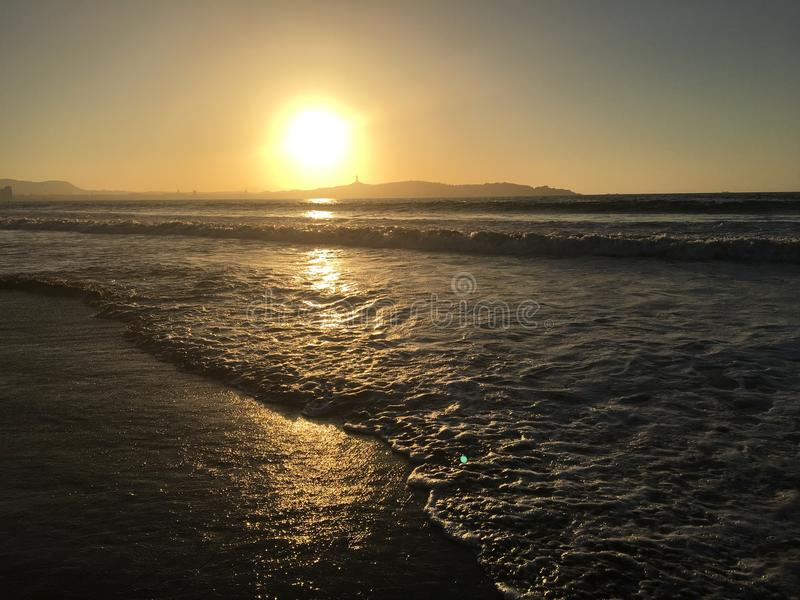 日落和日出 库存图片