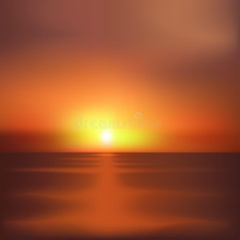 日落和海 向量例证