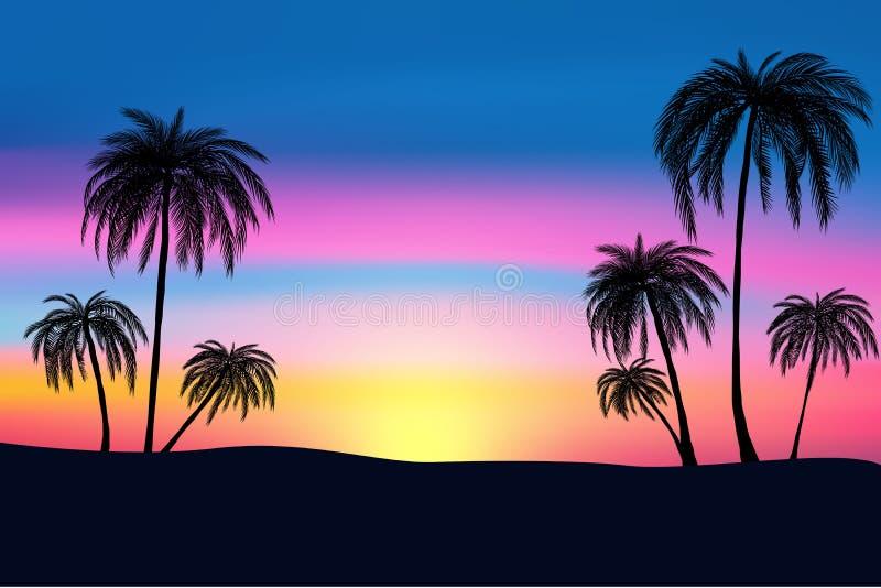 日落和热带棕榈树有五颜六色的风景背景,传染媒介 库存例证