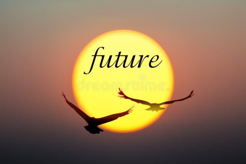 日落和鸟与未来文本 免版税库存图片
