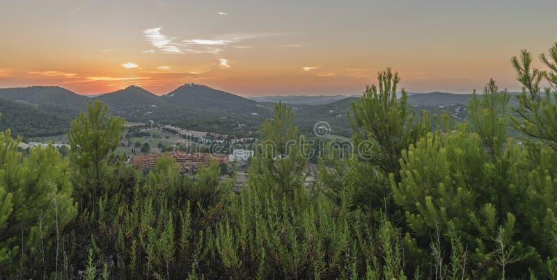 日落在伊维萨岛 免版税库存图片