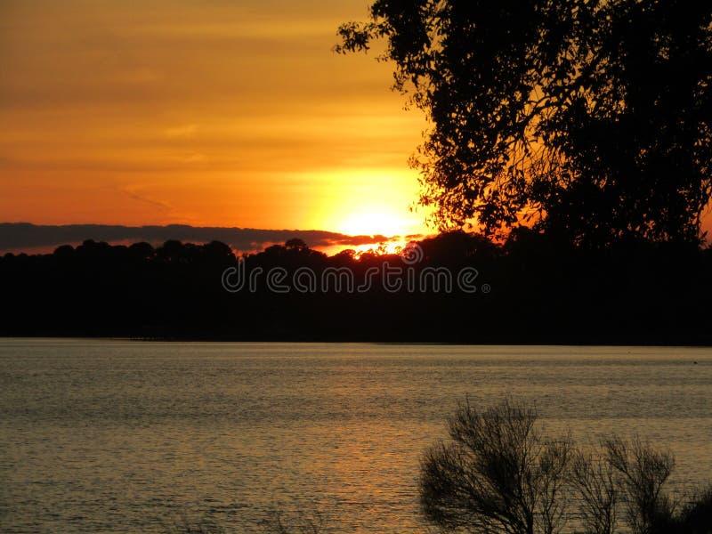 日落在佛罗里达在温暖的晚上 库存照片