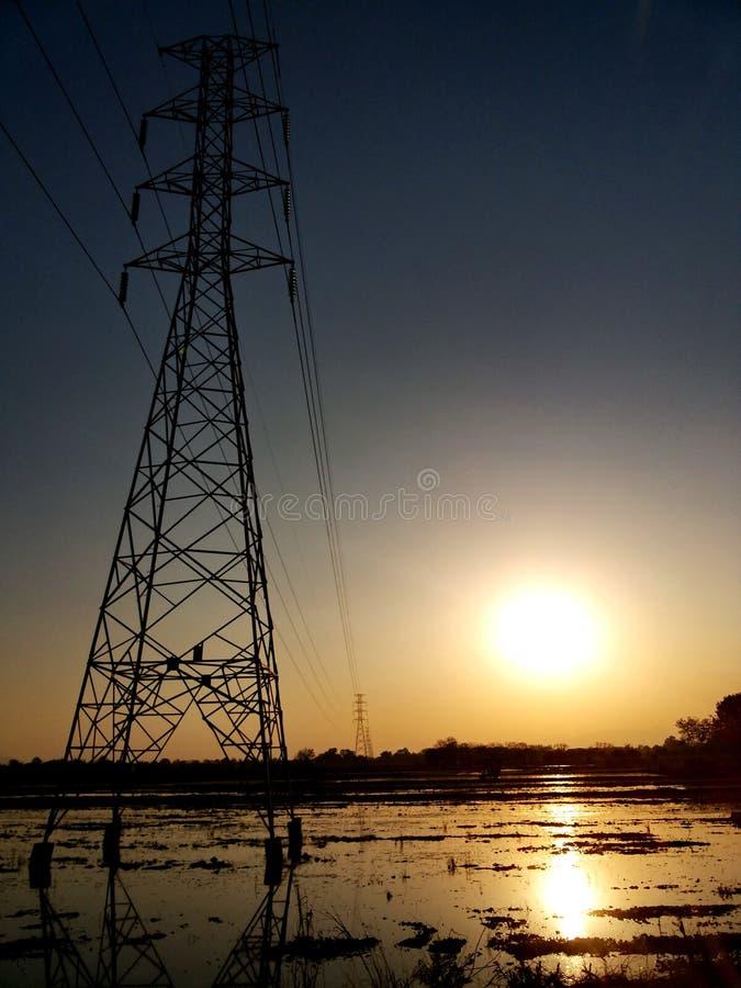 日落在农场清莱 免版税库存照片