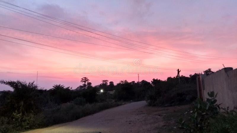 日落在印度 免版税库存照片