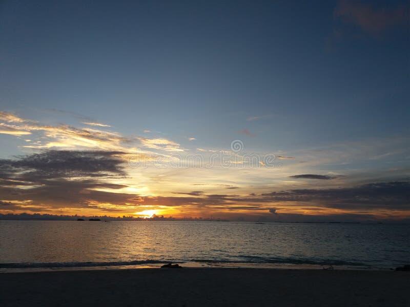 日落在圣布拉斯,巴拿马 库存图片