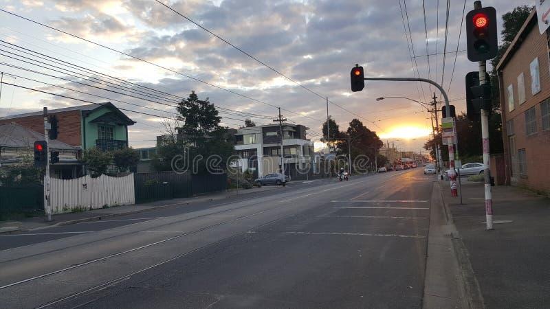 日落在墨尔本澳大利亚 库存图片