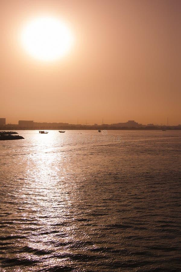 日落在多哈 库存图片