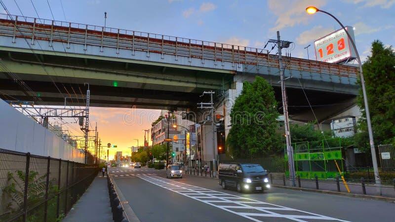 日落在大阪,日本 免版税库存图片