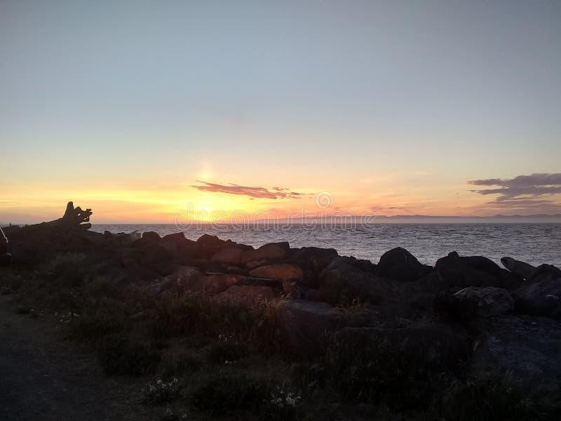 日落在安吉利斯港 库存图片