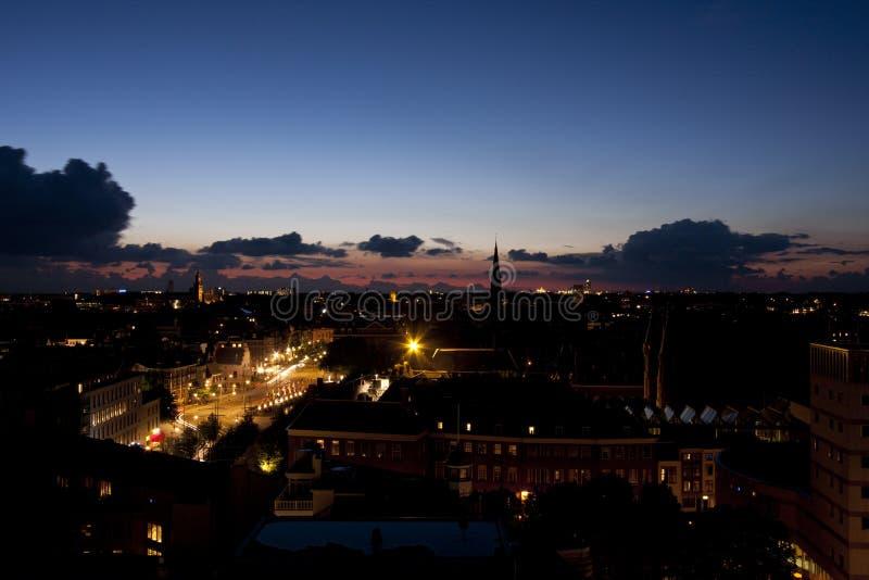 日落在小室Haag 免版税库存照片