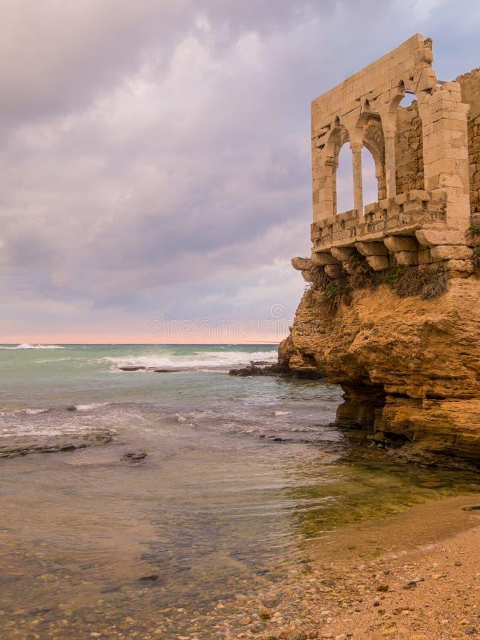 日落在巴特伦,黎巴嫩 图库摄影