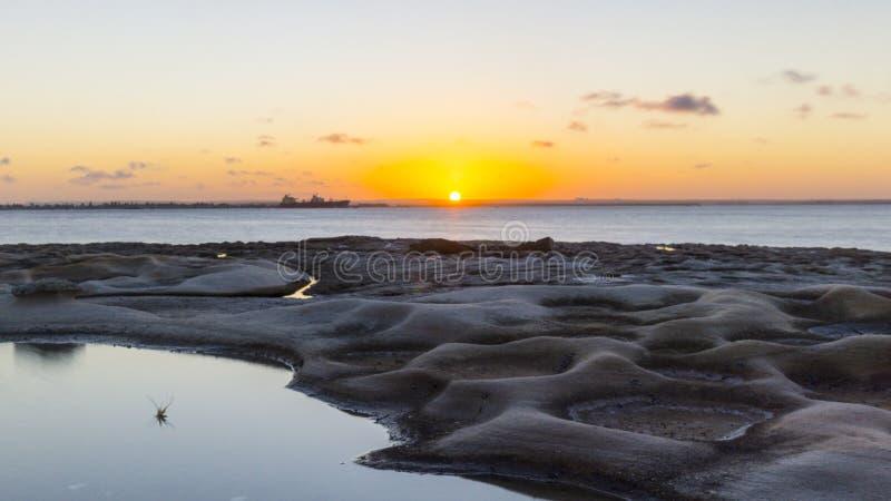 日落在布坦尼湾 库存照片