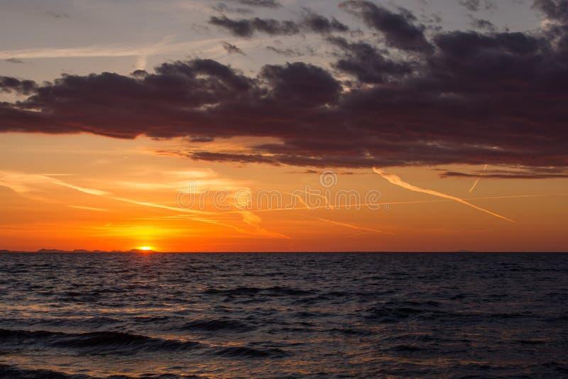 日落在扎达尔,克罗地亚 免版税库存图片