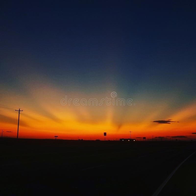 日落在新墨西哥 库存图片