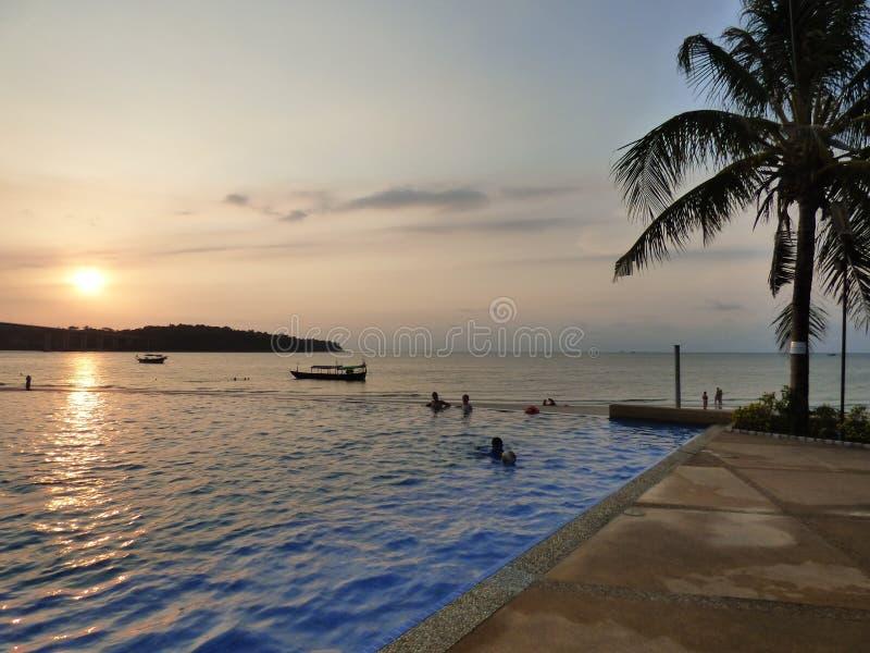日落在暹罗湾 库存照片