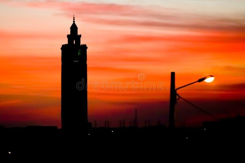 日落在有清真寺的苏斯 免版税图库摄影