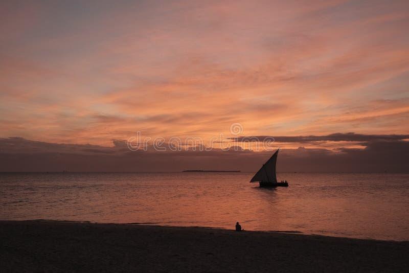 日落在桑给巴尔 库存图片