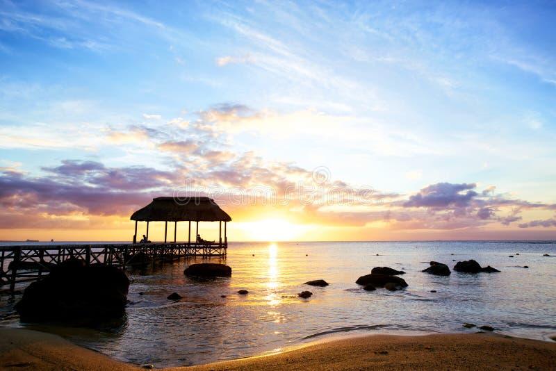 日落在毛里求斯 图库摄影