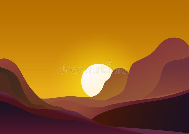 日落在沙漠-传染媒介例证自然本底 与太阳落山的风景在山和黄色天空后 库存例证