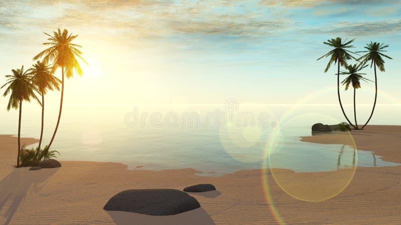 绿洲 日落在沙漠 库存例证