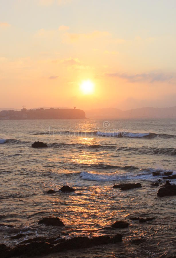 日落在海运 意大利的里雅斯特 免版税库存图片