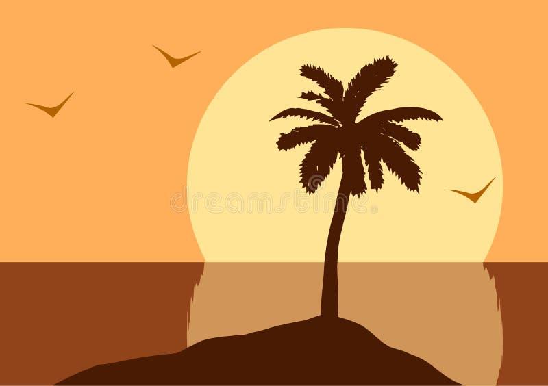 日落在海洋 向量例证