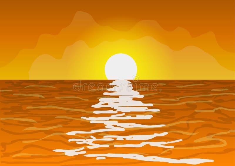 日落在海洋 皇族释放例证