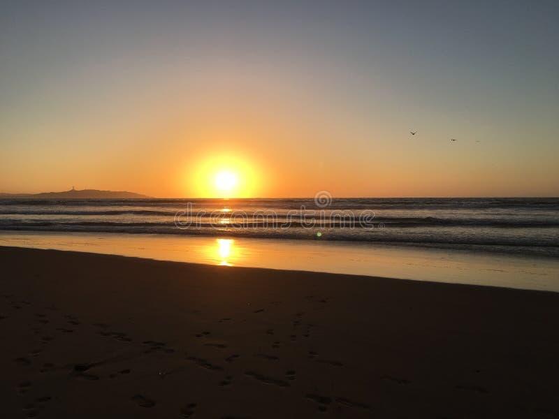 日落在海 免版税库存照片