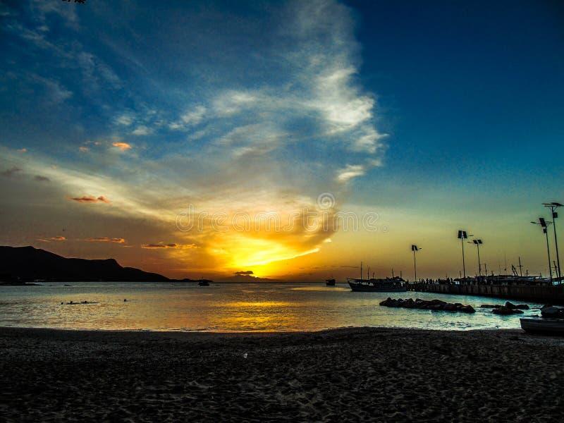 日落在玛格丽塔海岛 库存照片