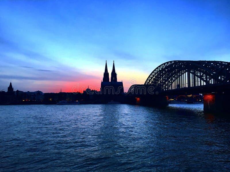 日落在科隆 免版税图库摄影