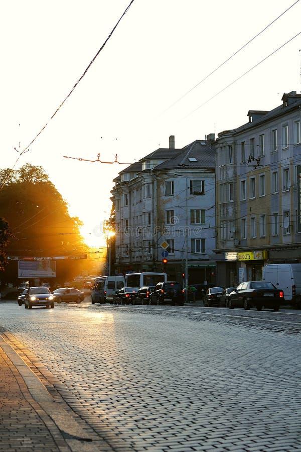 日落在老加里宁格勒 库存照片