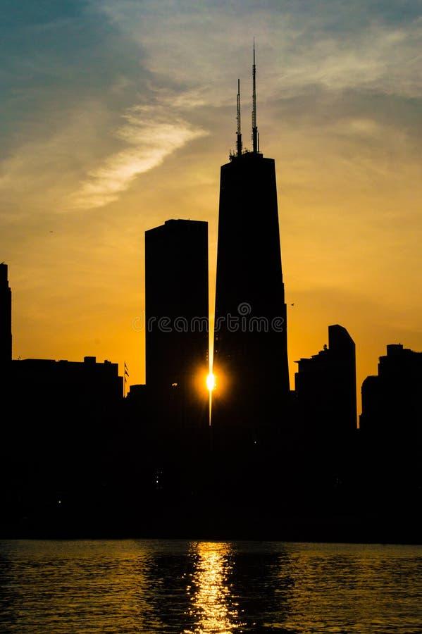 日落在芝加哥 库存图片