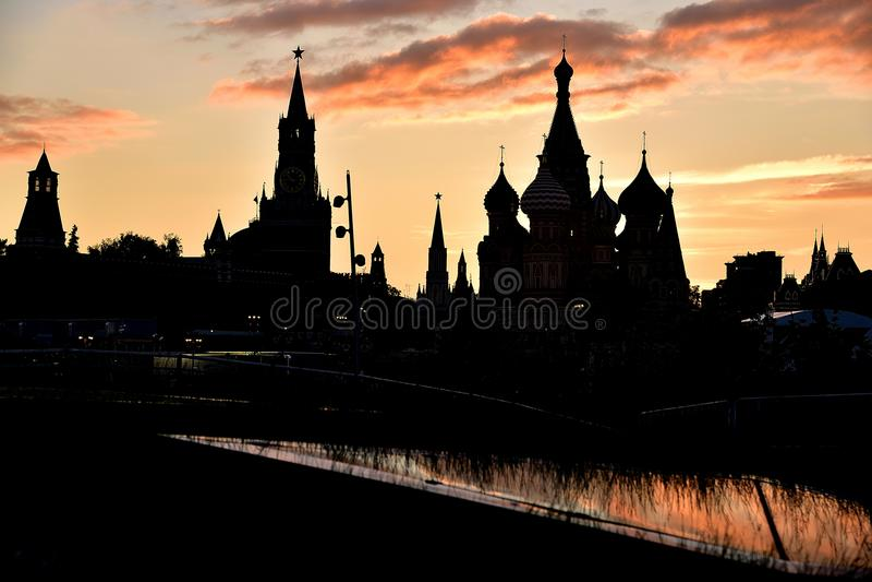 日落在莫斯科,红场 免版税库存照片