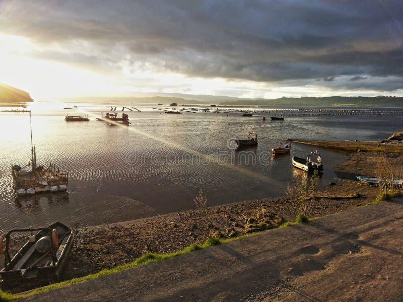 日落在莱米伊海岛 库存照片
