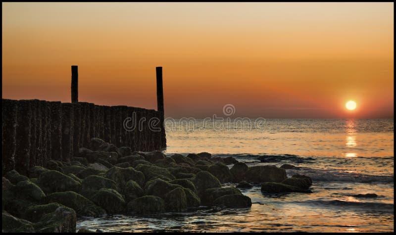 日落在西兰省,荷兰 库存照片
