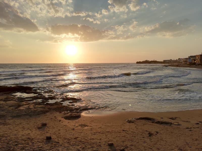 日落在西西里岛 库存照片