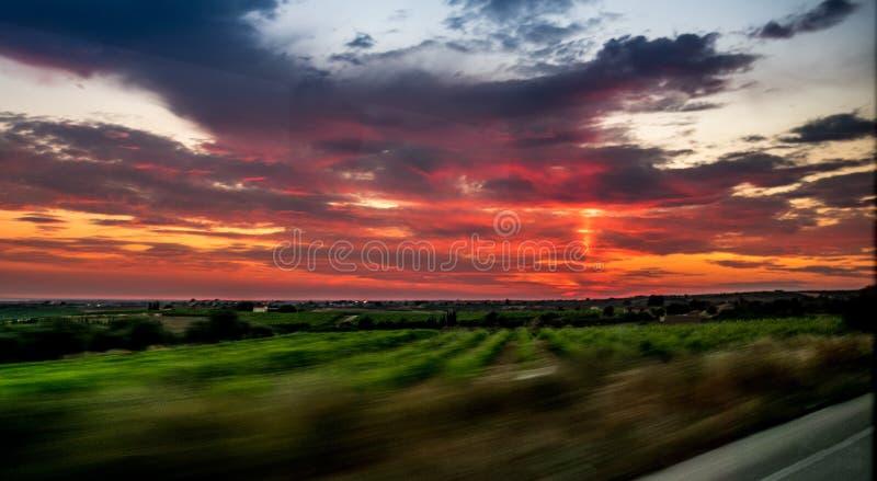 日落在西西里 库存照片