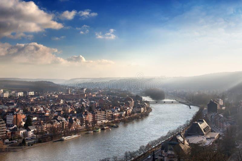 日落在那慕尔,比利时 免版税库存图片