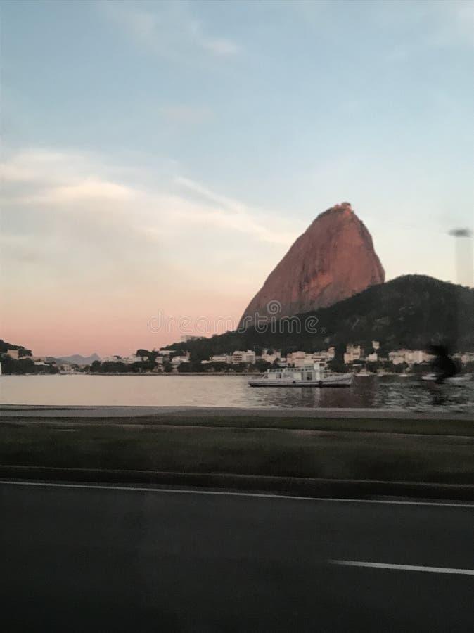 日落在里约热内卢 库存照片
