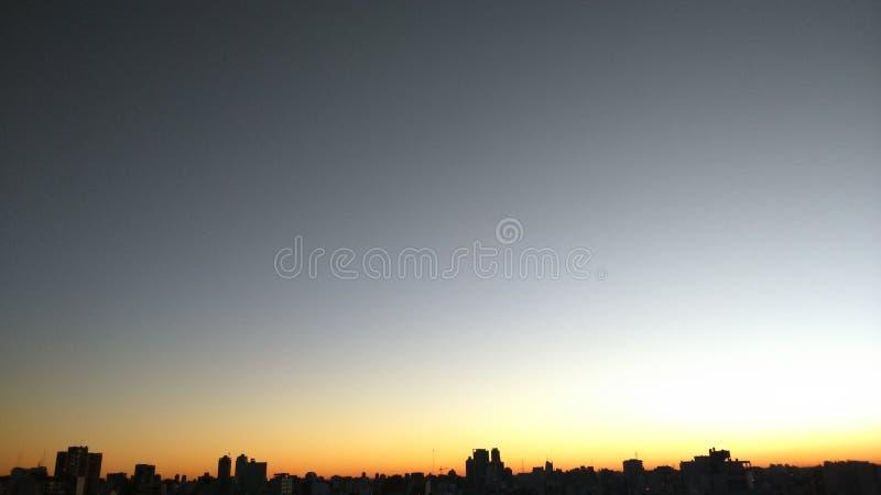 日落在阿根廷的首都 库存照片