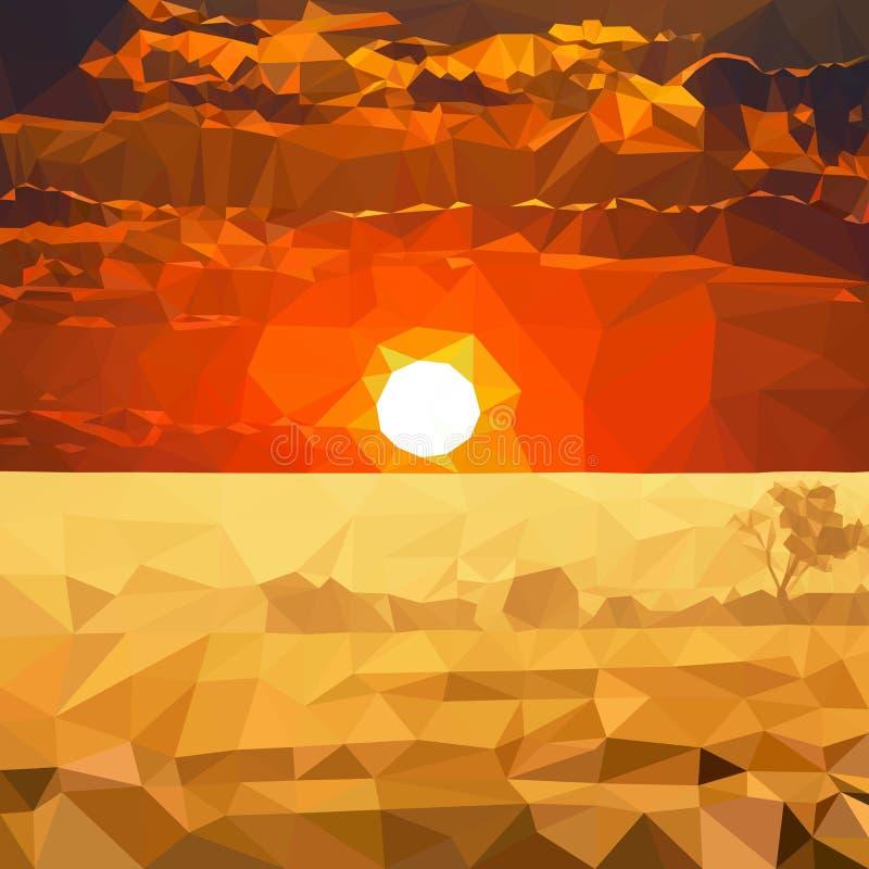 日落在非洲,向量图形,大草原,徒步旅行队 向量例证