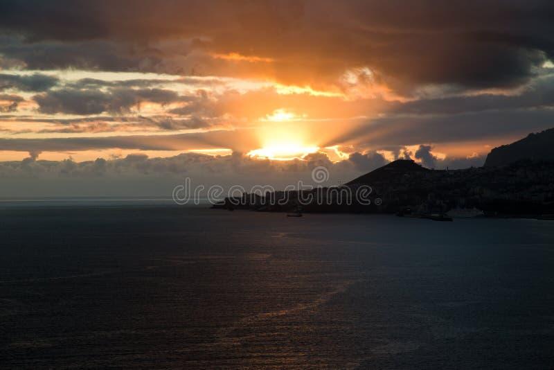 日落在马德拉岛 库存图片