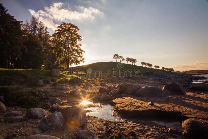 日落在更低的公园在Peterhof 免版税库存照片