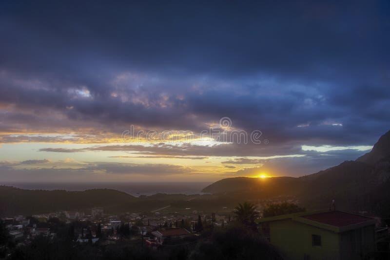 日落在黑山 库存图片