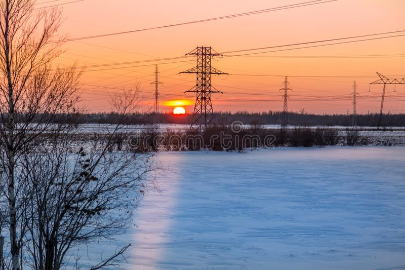 日落在12月 库存图片