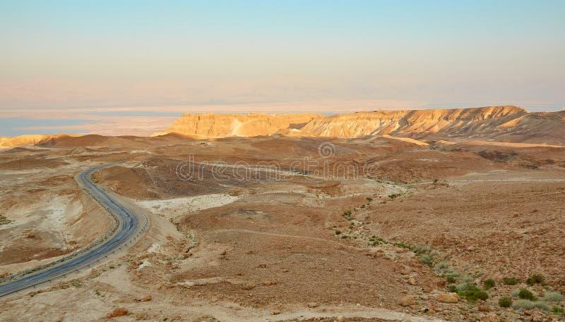 日落在Judean沙漠,以色列 免版税库存图片