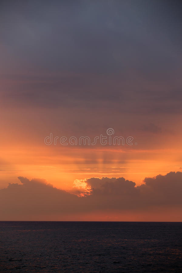 日落在Keauhou夏威夷 库存照片