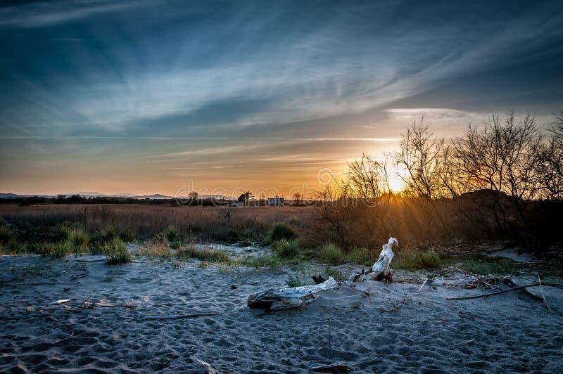 日落在La Gola del特尔 图库摄影