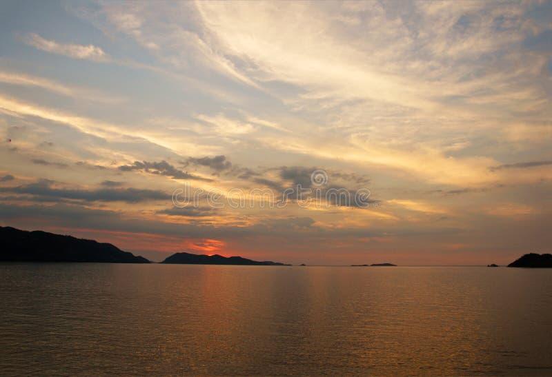 日落在Mochima 免版税库存图片