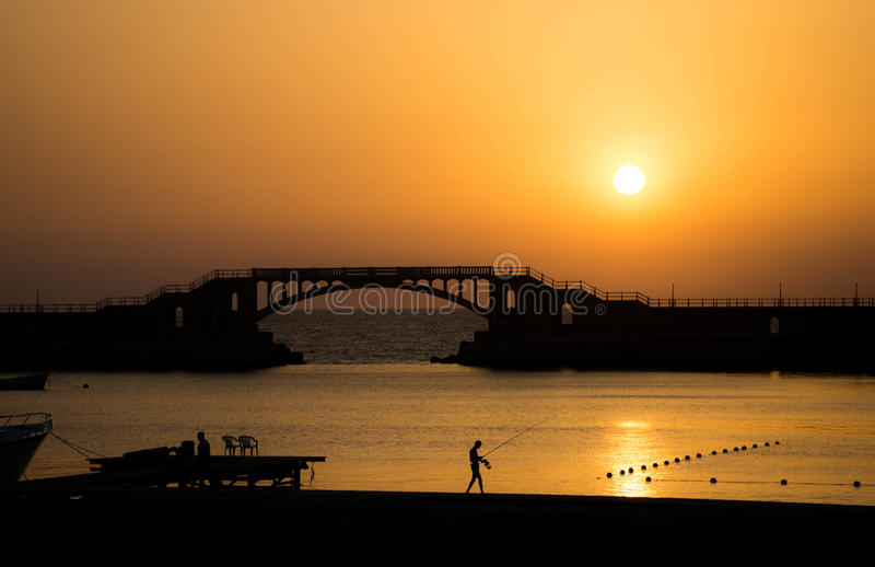 日落在Montaza,亚历山大,埃及 图库摄影